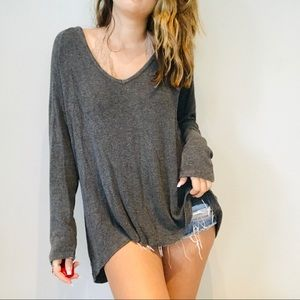 Brandy Melville gray oversized flowy long sleeve